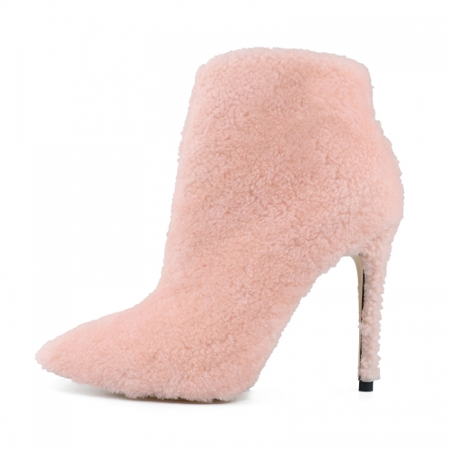 Nelly Pink Shearling Ankle Boots Heeled Booties
