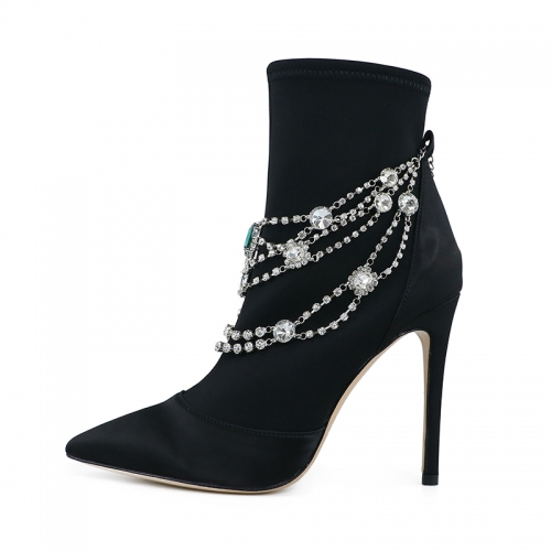 Donna Black Satin Crystal Necklace Ankle Boots
