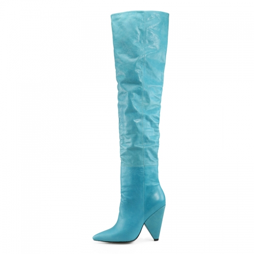 Norma Teal Cow Leather Over the Knee Boots