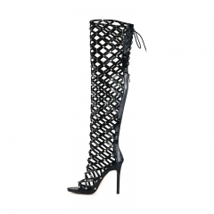Leila Black Patent Leather Studded Over the Knee Boots Gladiator Sandals