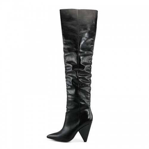 Norma Black Cow Leather Over the Knee Boots