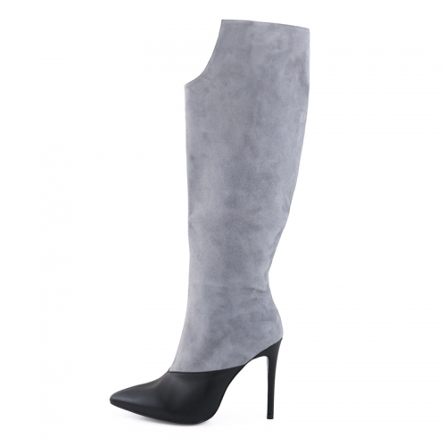 Sharon Gray Suede Leather Black Cow Leather Knee High Boots