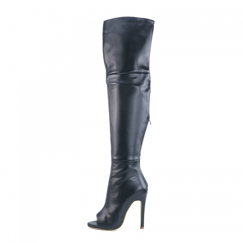 Bella Black Cow Leather Peep Toe Over the Knee Boots