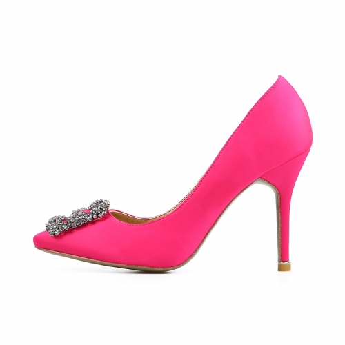 Mona Pink Satin Square Buckle Pumps