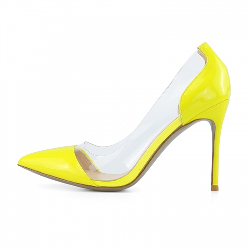 Gloria Yellow Patent Leather Clear PVC Pumps