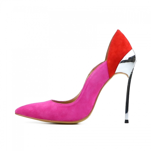Cathy Pink and Red Suede Leather Silver Iron Heel Pumps