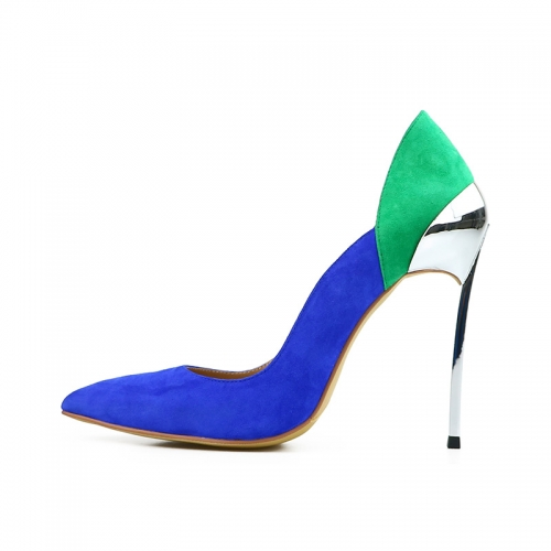 Cathy Blue and Green Suede Leather Silver Iron Heel Pumps