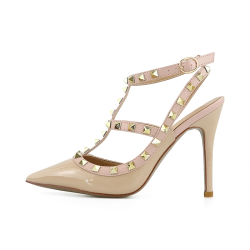 Valerie Nude Patent Leather Two Strappy Studded Pumps