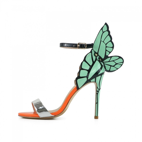 Phoebe Silver Mirror Leather Printed Mint Wings Sandals