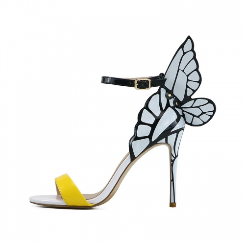 Phoebe Yellow Patent Leather Printed White Wings Sandals