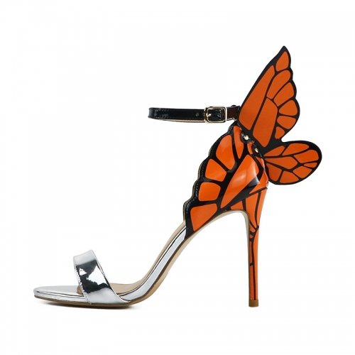Phoebe Silver Mirror Leather Printed Orange Wings Sandals