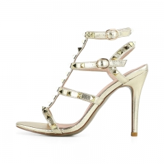 Teresa Light Gold Cow Leather Studded Sandals