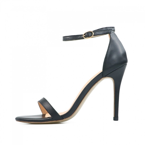 Winni Black Cow Leather Sandals