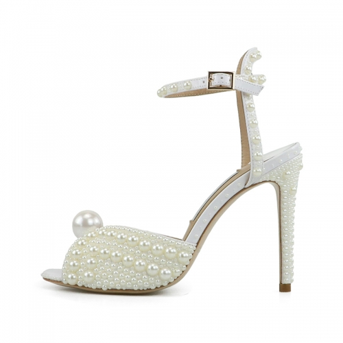 Madge White Patent Leather Full of Pearls Sandals
