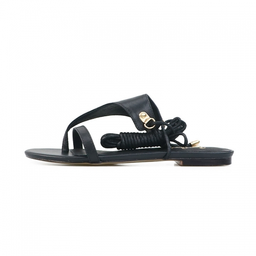 Paula Black Cow Leather Lace-up Flip-Flops Flats