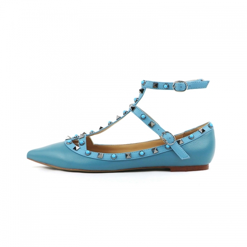 Merry Blue Cow Leather Strappy Studded Flats