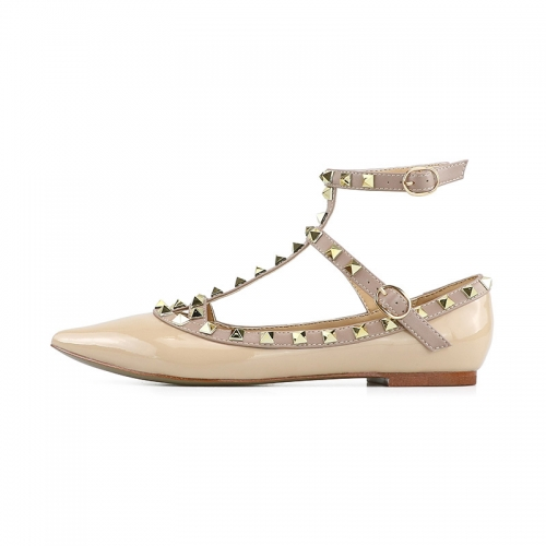 Merry Nude Patent Leather Strappy Studded Flats
