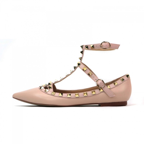 Merry Nude Cow Leather Strappy Studded Flats