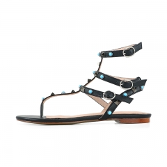 Moira Black Cow Leather Green Studs Flat Sandals