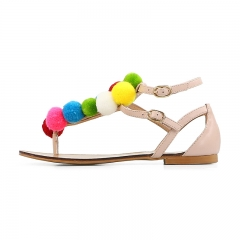 Lydia Beige Cow Leather Pompon Flat Sandals