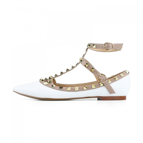 Merry White Patent Leather Strappy Studded Flats
