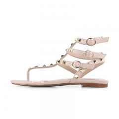 Moira Nude Cow Leather Strappy Studded Flat Sandals