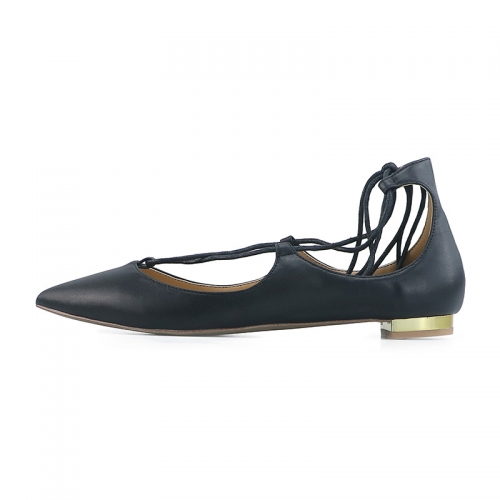 Nelly Black Cow Leather Lace-up Flat Pumps