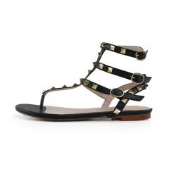 Moira Black Cow Leather Strappy Studded Flat Sandals