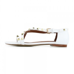 Myra White Cow Leather Studded Flat Sandals