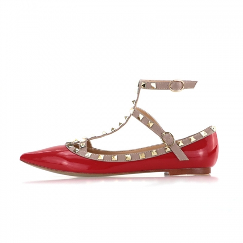 Merry Red Patent Leather Strappy Studded Flats