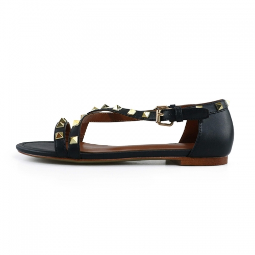 Myra Black Cow Leather Studded Flat Sandals