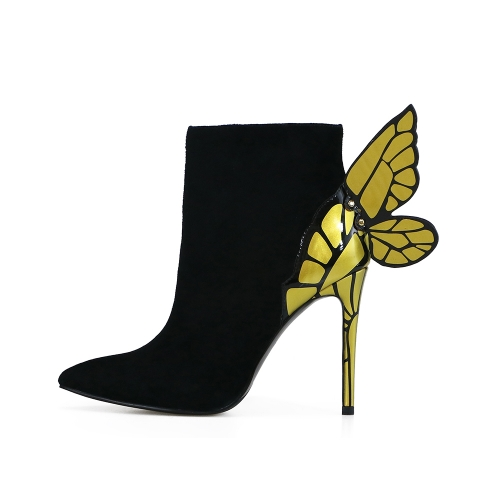 Eileen Black Suede Leather Butterfly Ankle Boots