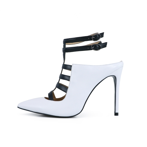 Juliet White Cow Leather Black Strappy Pumps