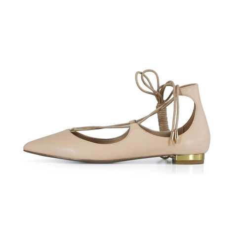 Nelly Nude Cow Leather Lace-up Flat Pumps