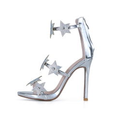 Selena Silver Mirror Leather Star Sandals