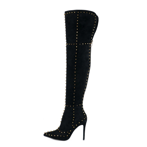 Doreen Black Suede Leather Studded Over the Knee Boots