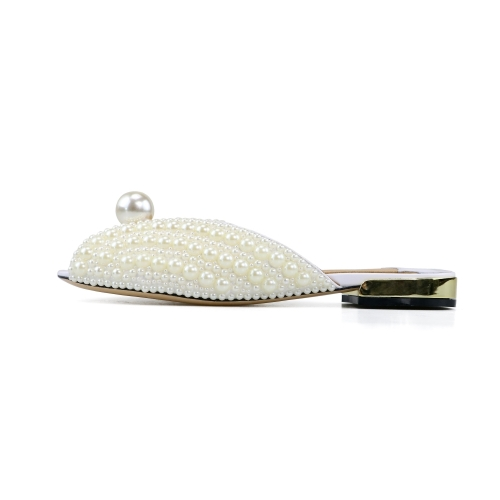 April White Patent Leather Pearl Flats Sandals Mules