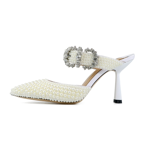 Jessie White Patent Leather Pearl Sandals Mules