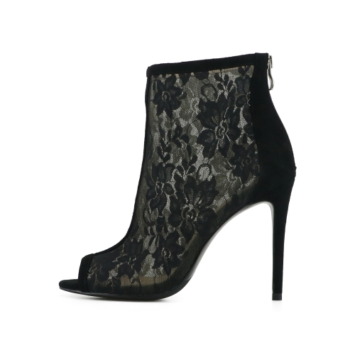 Iris Black Lace Suede Leather Ankle Boots