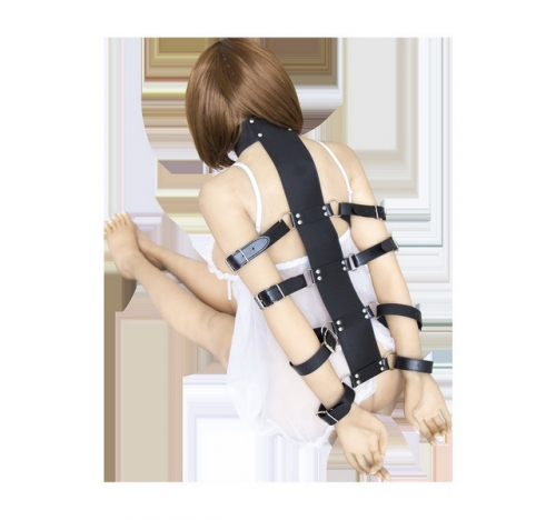 MOG Leather tied hands ribs tied with anti-back handcuffs neck cover