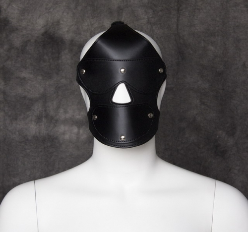 MOG Black leather with three nails cover headgear eye mask