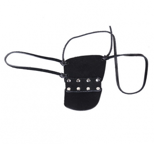 MOG Black leather 2-row nail one-eyed eye mask
