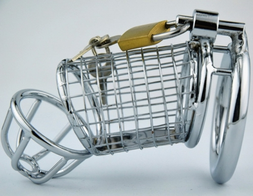 MOG Male equipment silver cage male chastity lock