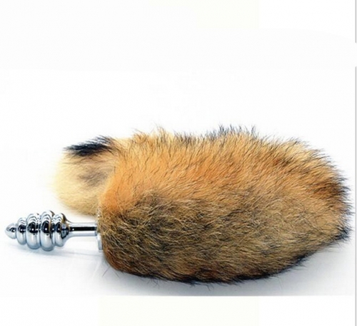 MOG Silver small spiral fox tail anal plug