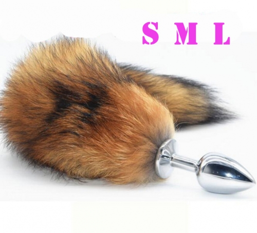 MOG Silver color fox tail anal plug