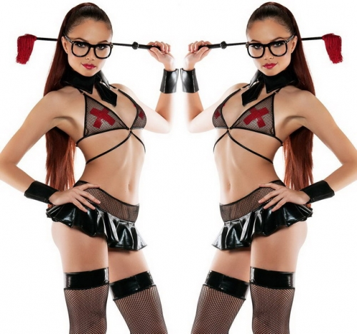 MOG  Patent leather mesh stitching spicy teacher