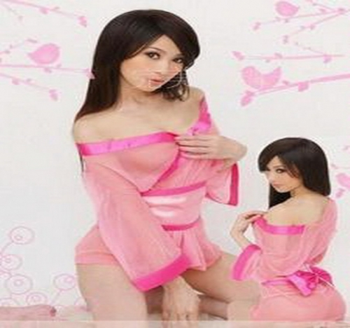 MOG Uniform temptation kimono series-see-through pink three-piece suit