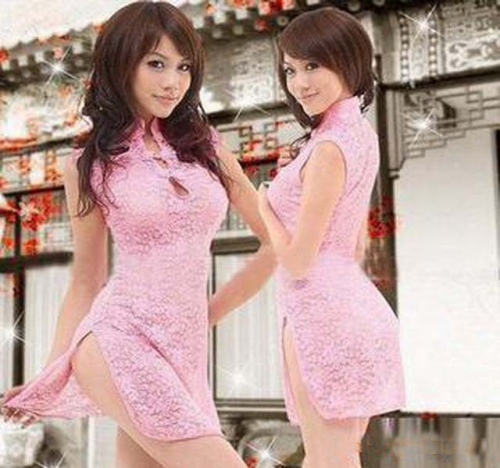 MOG Pink Sexy Lace Transparent Cheongsam T-Pants Sexy Lingerie