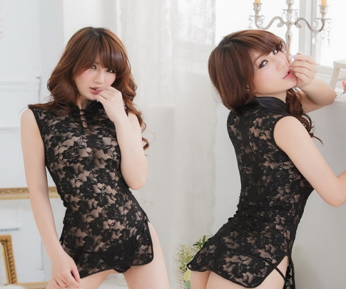 MOG Sexy full lace transparent cheongsam see-through pajamas