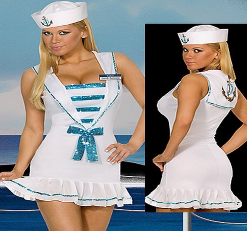 MOG   Sexy white navy sailor uniform cosplay